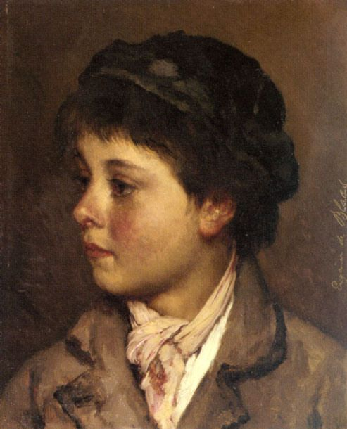 Head Of A Young Boy     Eugene von Blaas (1843 – 1931, Italian-born Austrian)