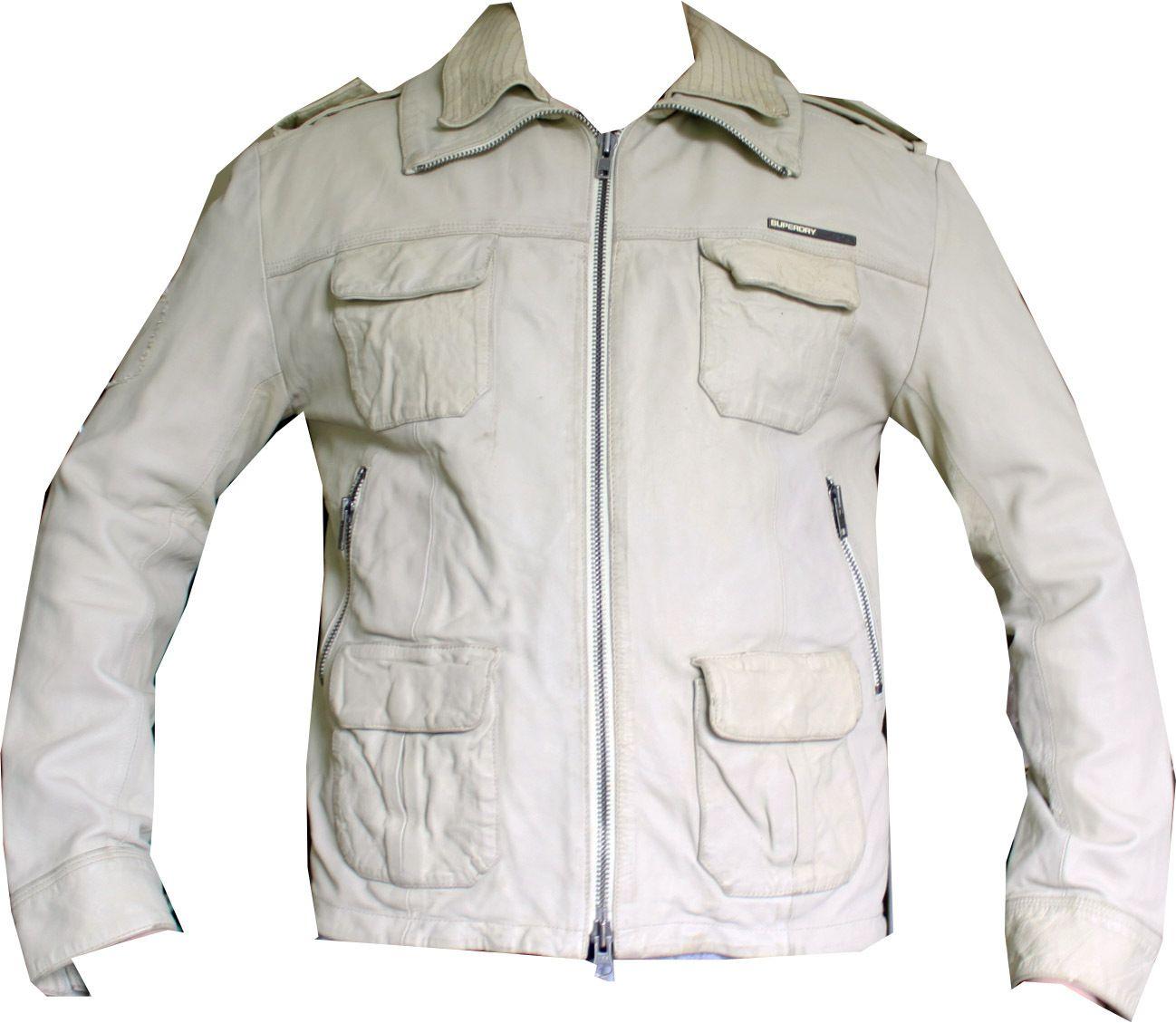 Pre Owned Designer Clothing   Superdry Jacket White Leather Biker Bomber Coat Men S Pre Owned