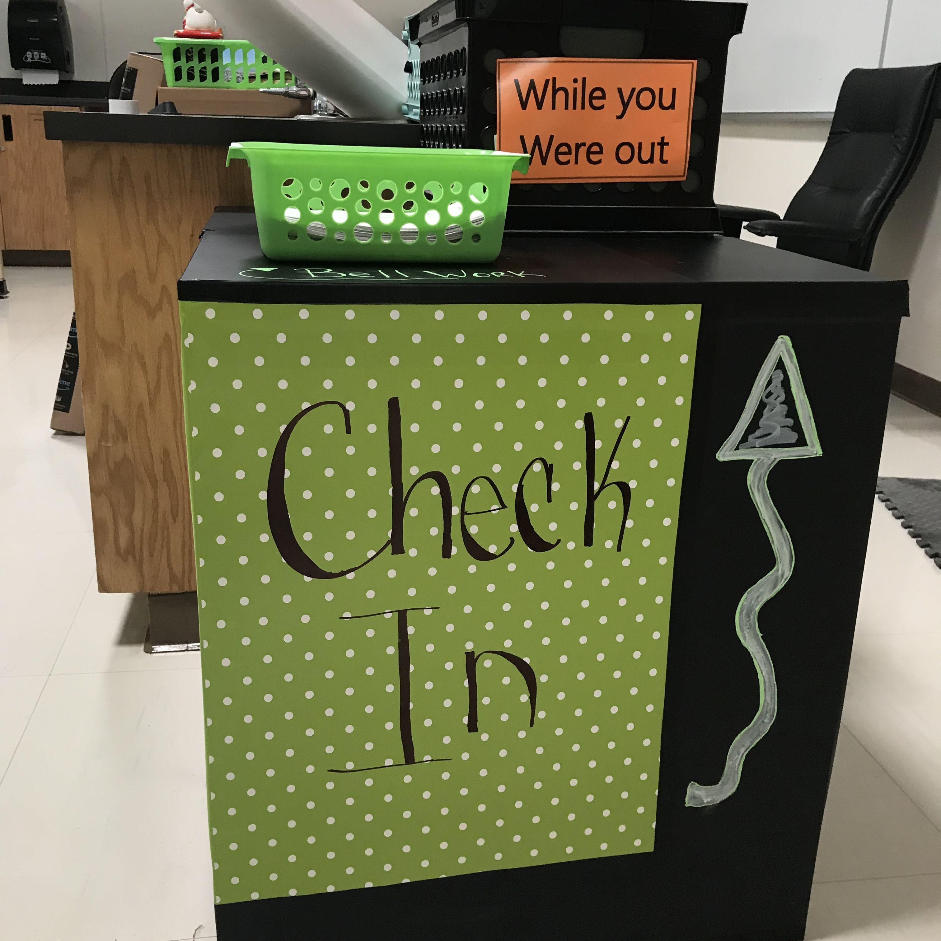Students Check In Here To Pick Up Bell Work Sheets