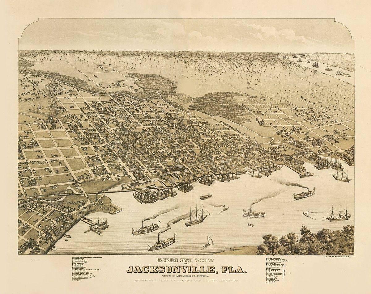 Map Jacksonville Florida.Vintage Map Jacksonville Florida 1876 30 00 Via Etsy