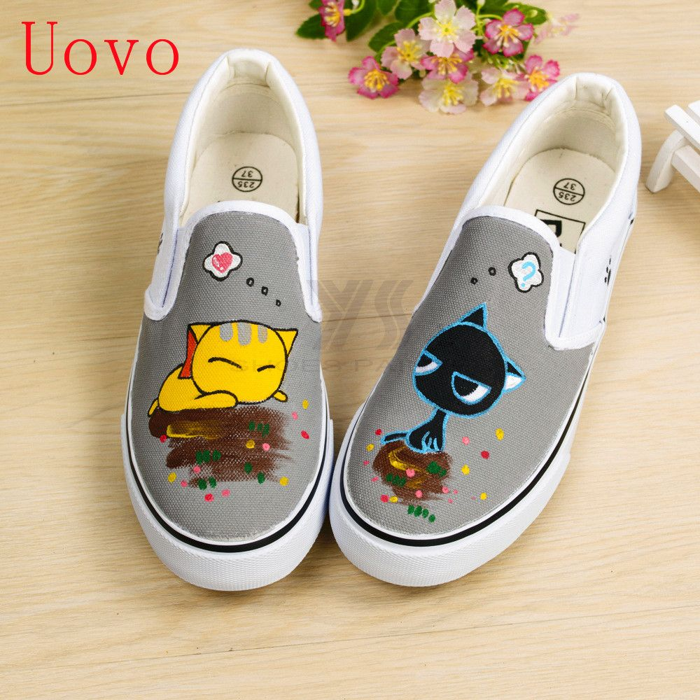 9d7a08408945f Click to Buy << OMDS New Hand-painted Cartoon Cat Shallow Bottom ...