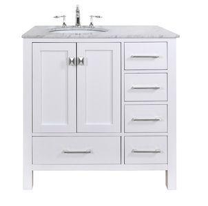White Bathroom Vanities 36 Inch stufurhome 36 inch malibu pure white single sink bathroom vanity