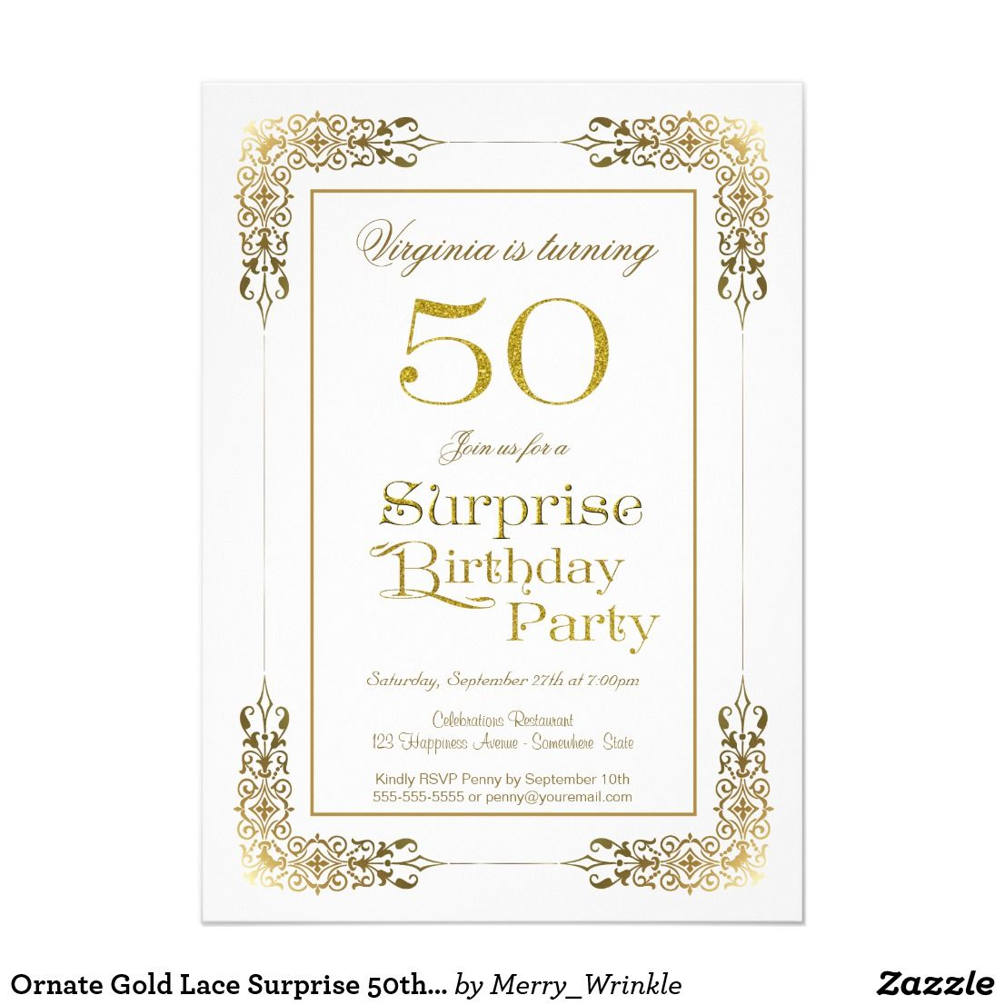 ornate gold lace surprise 50th birthday party invitation in 2018