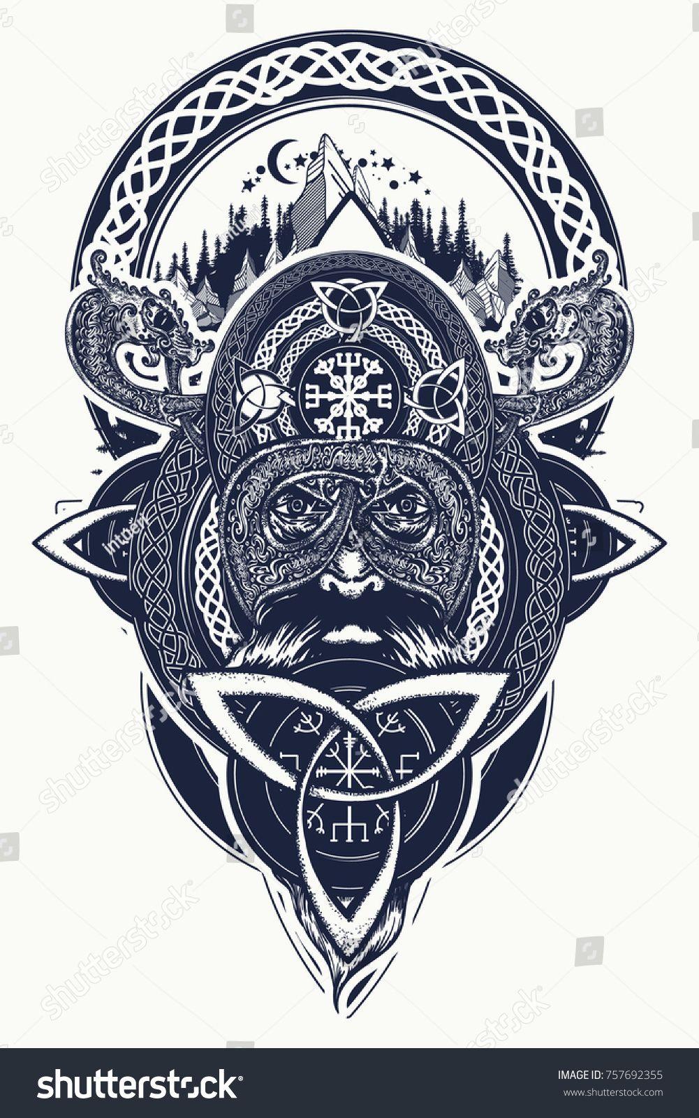 fa31c614adb66 Viking warrior and mountains tattoo. Northern warrior