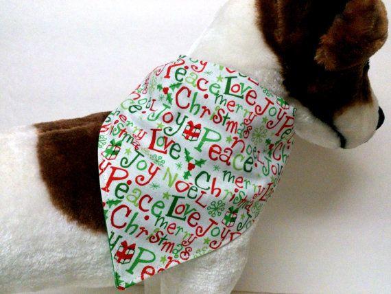 Joy Love Peace Christmas Dog Bandana by ELMEDO on Etsy, $8.50