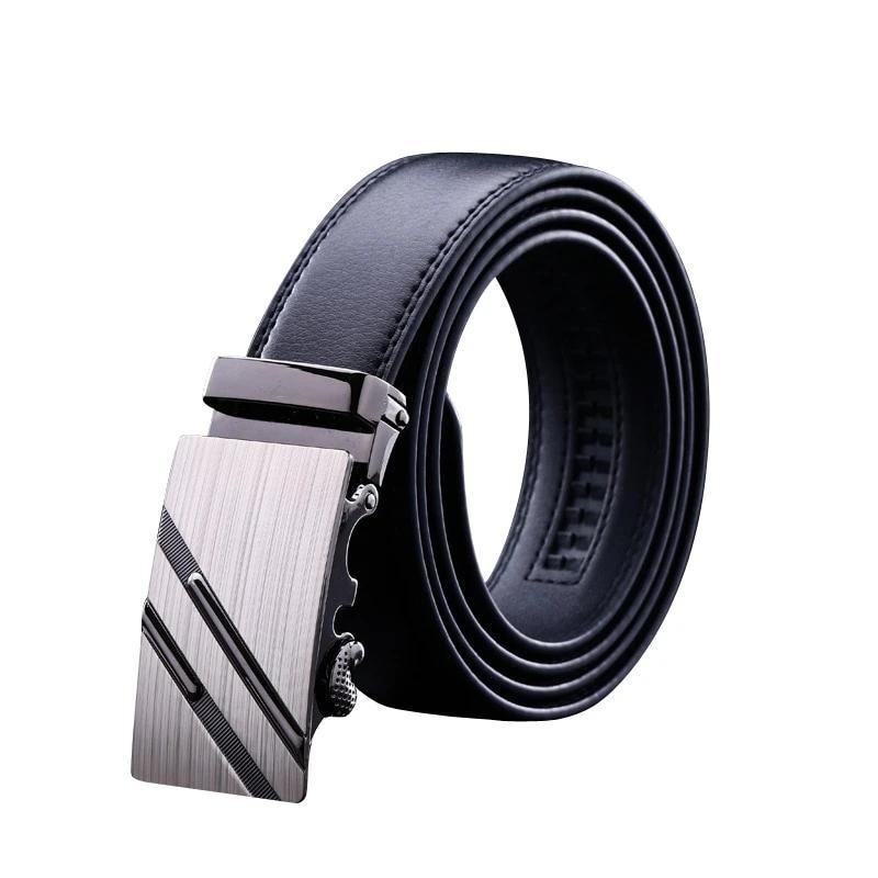 Fashion Leather Men/'s Belt Ratchet Dress Belt Automatic Sliding Buckle Business