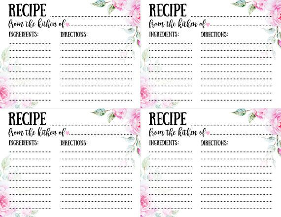 Printable Bridal Shower Recipe Cards Template Instant Download Etsy Bridal Shower Recipe Cards Printable Bridal Shower Recipes Cards Recipe Cards