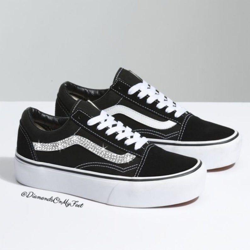 d6ae292f4bf72 Swarovski Women's Vans Old Skool Black & White Platform Sneakers ...