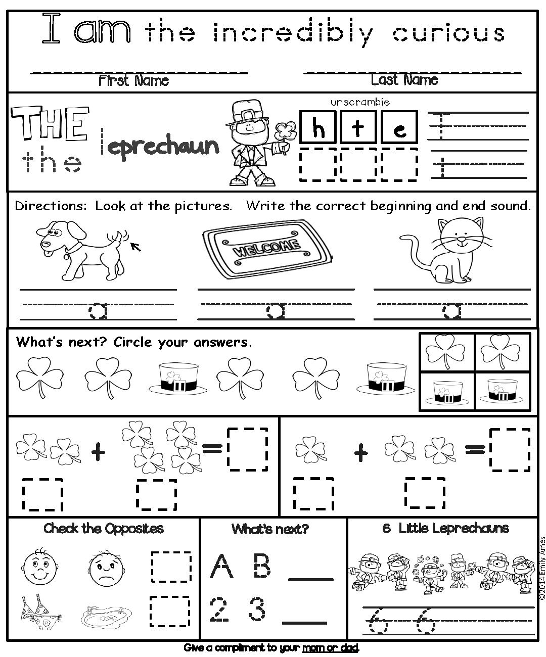 March Kindergarten Differentiated Homework