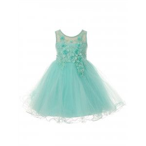 aa11b66424c Big Girls Aqua 3D Floral Sequin Wired Tulle Skirt Junior Bridesmaid Dress 8- 12