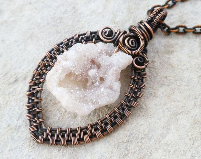 White Druzy Wire wrapped pendant necklace / Woven Wire Wrapped ...