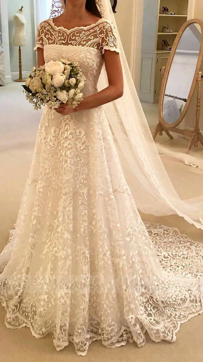 Vintage Elegant Lace Wedding Dresses With Short Sleeves Vw1330 Modest Lace Wedding Dresses Wedding Dresses Lace Ball Gowns Wedding [ 1200 x 675 Pixel ]