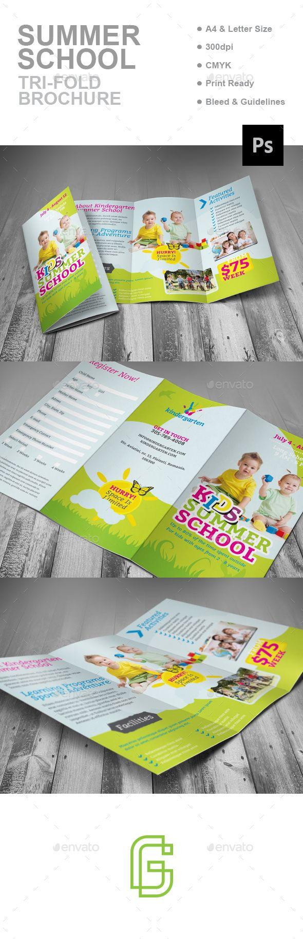 Summer School Trifold Brochure Design Template - Corporate Brochures  Template Psd.