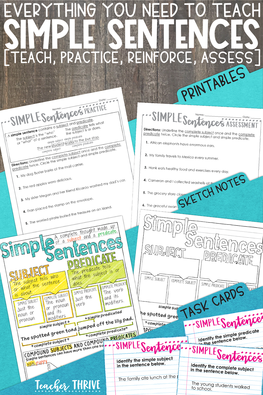 Third Grade Grammar: Simple Sentences • Teacher Thrive   Simple sentences [ 1500 x 1000 Pixel ]