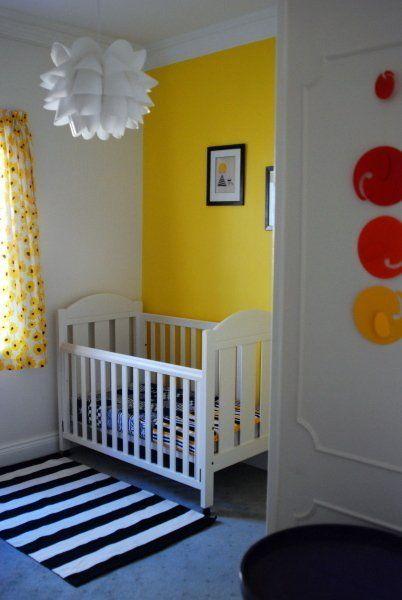 Felix & Theodore\'s Yellow & Black Nursery | Black white rug, Pendant ...
