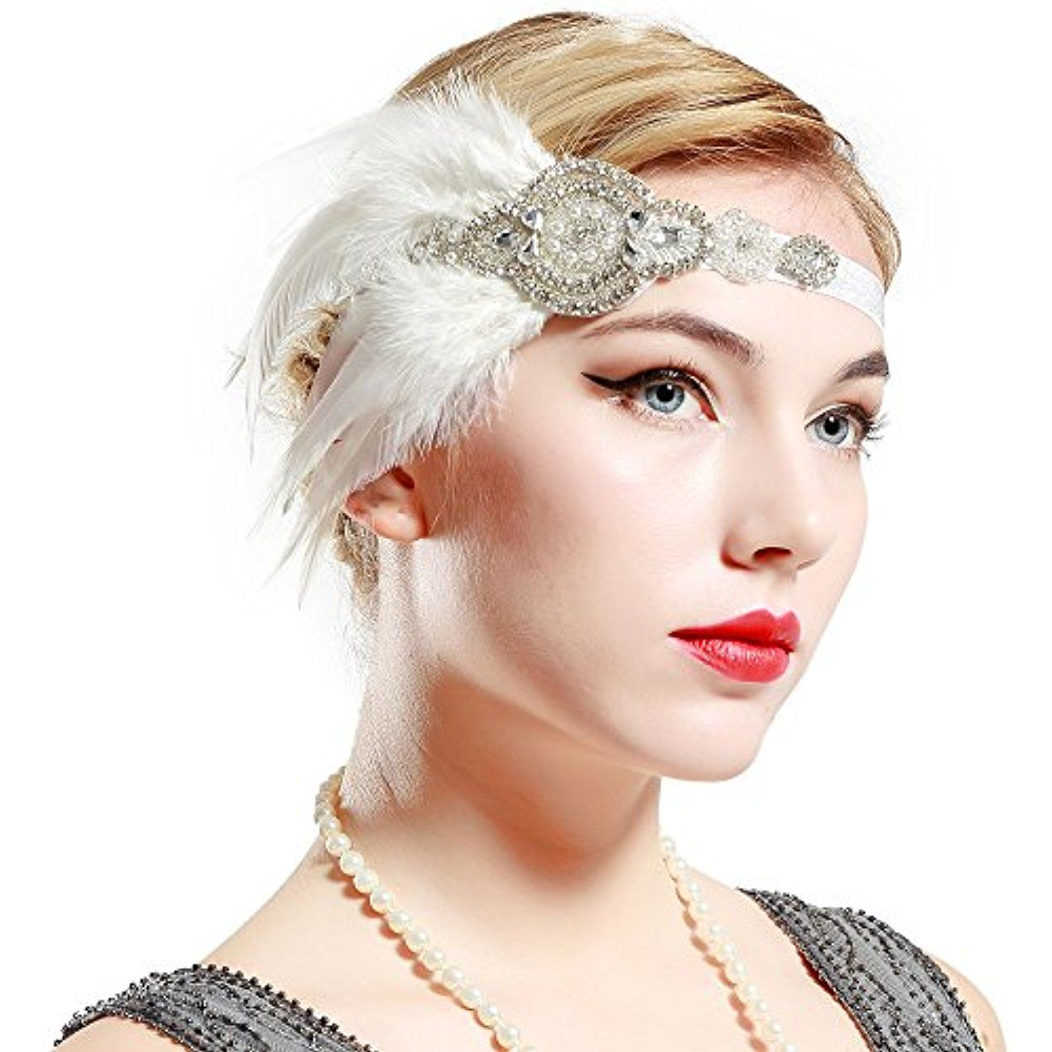 Vintage 1920s Flapper Headband Roaring 20s Great Gatsby Headpiece with Peacock Feather 1920s Flapper Gatsby Hair