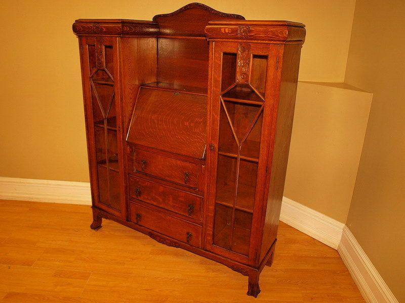 antique secretary desk with hutch   Antique Mission Oak Secretary Desk  Bookcase Cabinet NR Completed - Antique Secretary Desk With Hutch Antique Mission Oak Secretary