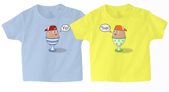 Twins Baby/Toddler T-Shirt Set, Egg Buddies, 2 Pack , Newborn to 3 yrs, Different Colour Combinations.