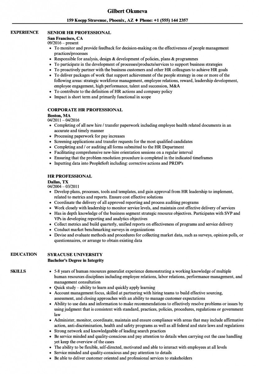 10 Hr Skilled Resume in 2020 Professional resume samples
