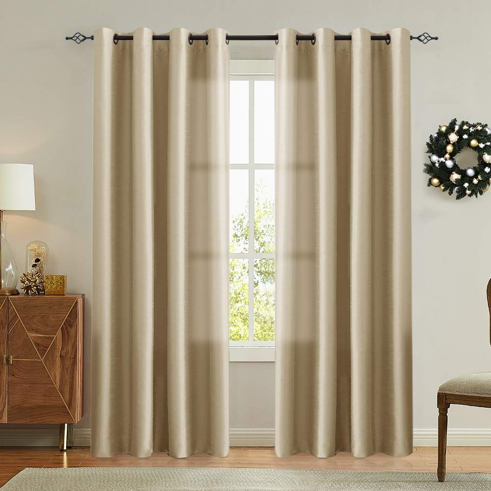 Vangao Gold Brown Curtains 84 Inches Long Faux Silk Opaque Curtain