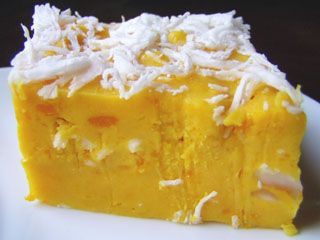 THAI | Pumpkin Dessert ( Kanom Fuktong Nung )    Ingredients:   steamed Thai Pumkin    110 gms Rice Flour    100 ml Coconut Milk    50 gms Sugar    Pinch of Salt    Grated Coconut