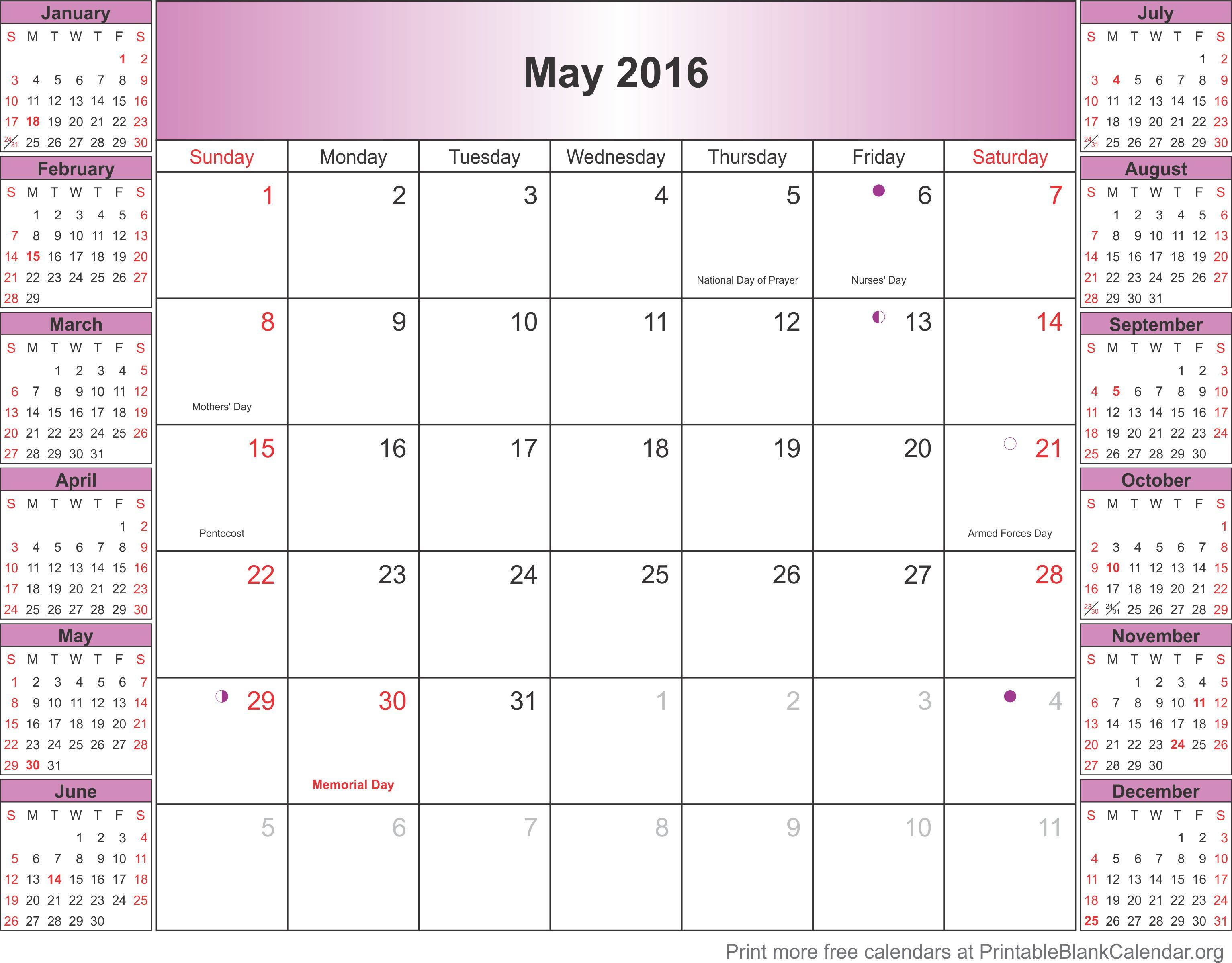 Pin By Calendar Templates On May 2016 Printable Calendar Excel
