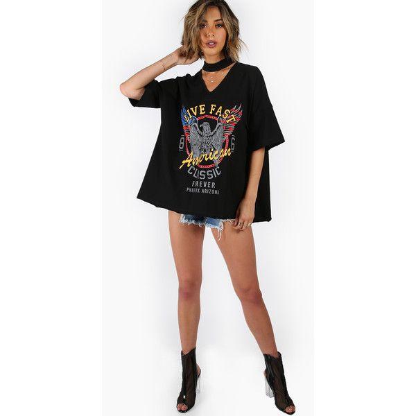 784933007b SheIn(sheinside) Choker V-Neck Drop Shoulder Print Tee featuring polyvore  women's fashion clothing tops t-shirts graphic design t shirts 3 4 sleeve v  neck ...