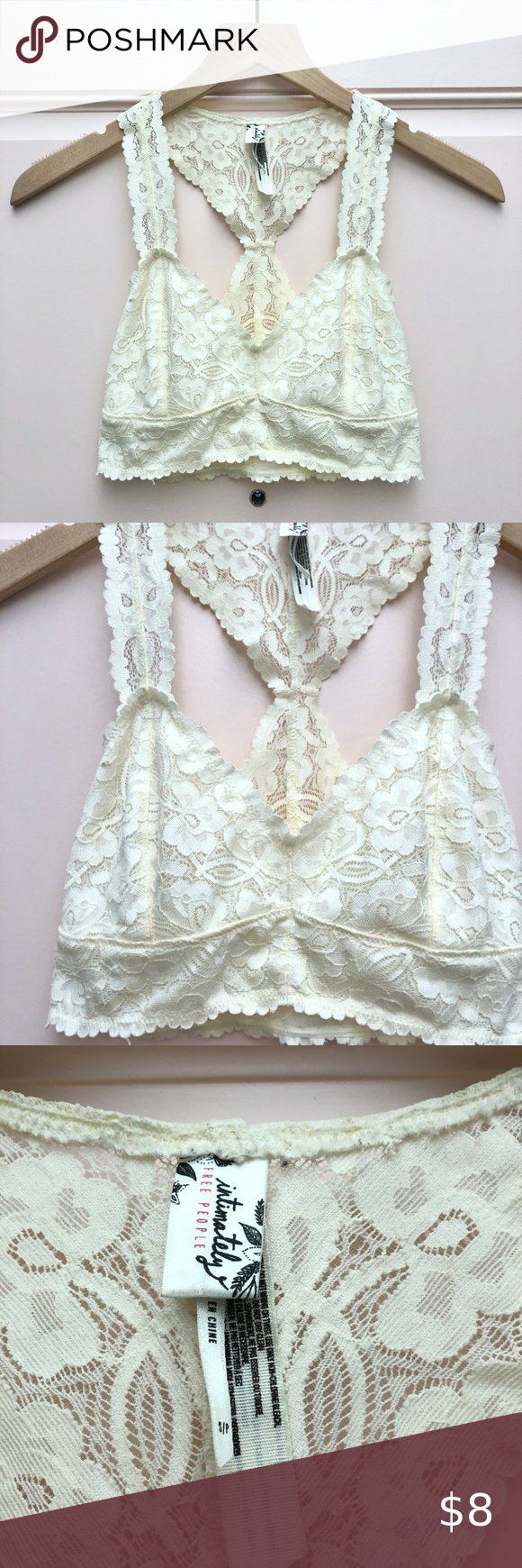 Intimately Free People Ivory Bralette - Size Small Intimately Free People ivory cream lace bralette with racerback. Size Small. 90% Nylon/10% Spandex.   Approximate Measurements • Pit to Pit: 14