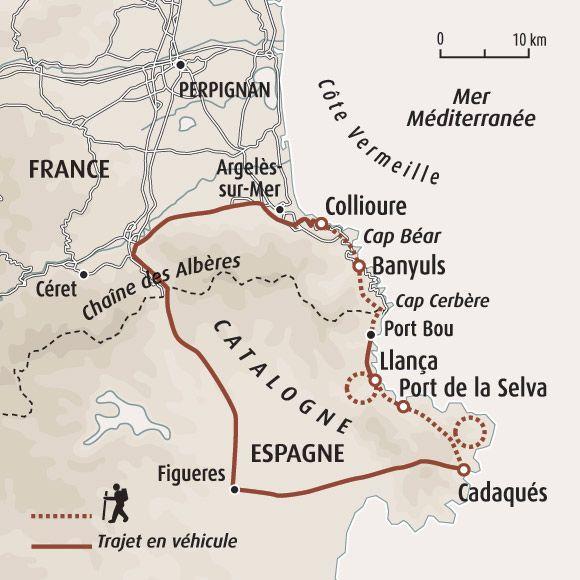 Circuit carte France Collioure Cadaqus Voyage Europen