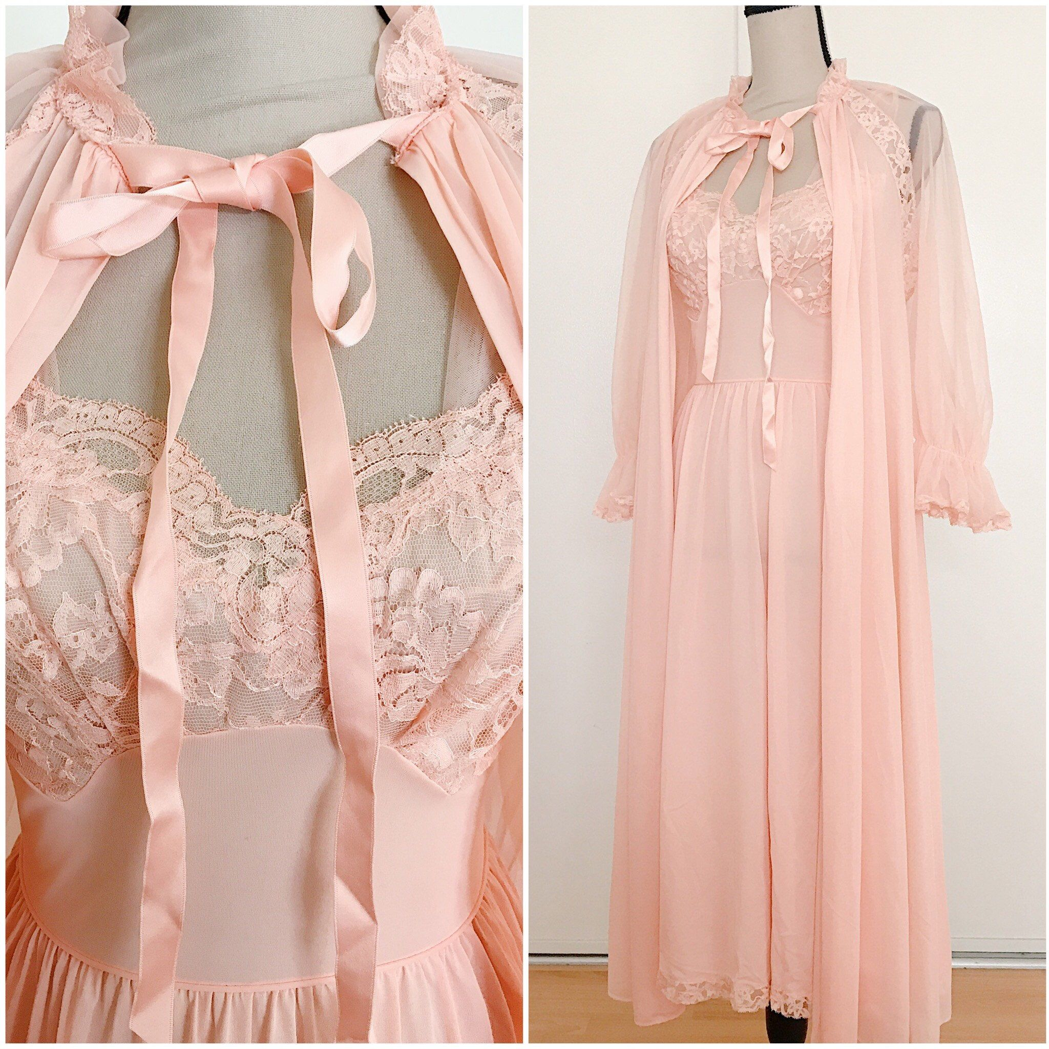 Vintage mid century peach robe and gown peignoir set by ...