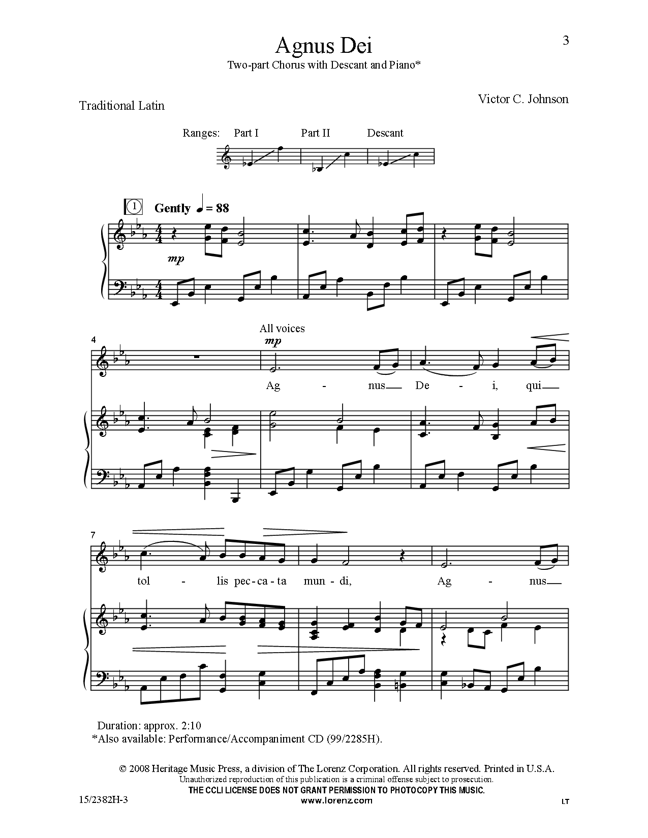Agnus Dei (Two-Part ) by Victor C  Johnson| J W  Pepper