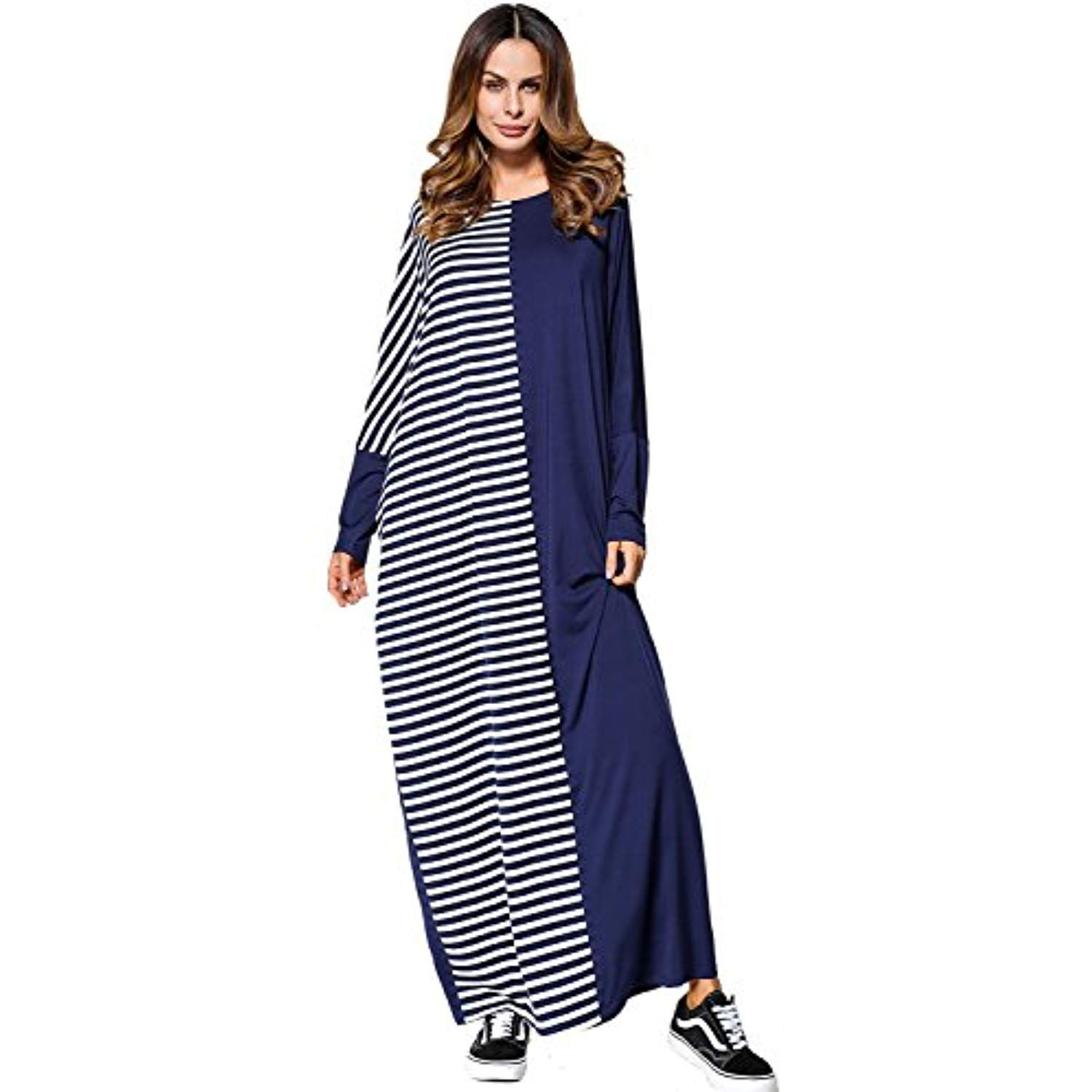 Women s Boho Long Sleeve Caftan Color Block Casual Loose Long Maxi Dress     Find out more about the great product at the image link. 010187a9b