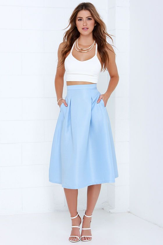 Tiger Mist Bonnie Light Blue Midi Skirt | Light blue, Tigers and ...