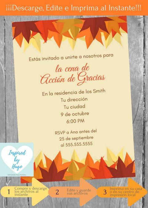 Invitación Cena De Acción De Gracias Invitación De