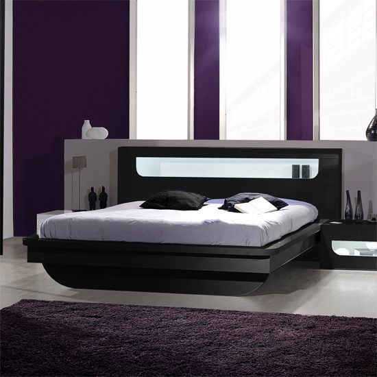 Best Pulse High Gloss Eu Double Bed In Black With Led Lighting 400 x 300
