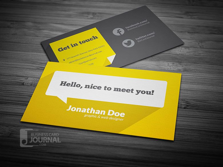 Free Flat Design Business Card Template With Long Shadow - Business card design free template