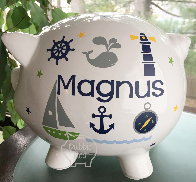 Personalized Piggy Bank Nautical Boy Piggy Bank Ocean Theme Boy Gift Sailor Boy Toddler Birthday In 2020 Personalized Piggy Bank Toddler Birthday Gifts Piggy Bank