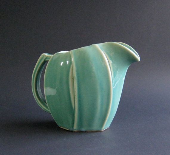 Vintage Mccoy Tulip Pitcher Water Pitcher Seafoam Green Mccoy