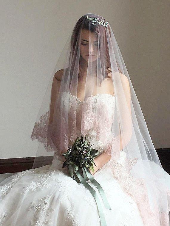 Blush Bridal Veil Blush Drop Veil Chantilly Lace Cathedral Veil Mantilla Veil Pink Lac Bridal Veils And Headpieces Lace Cathedral Veil Wedding Bridal Veils