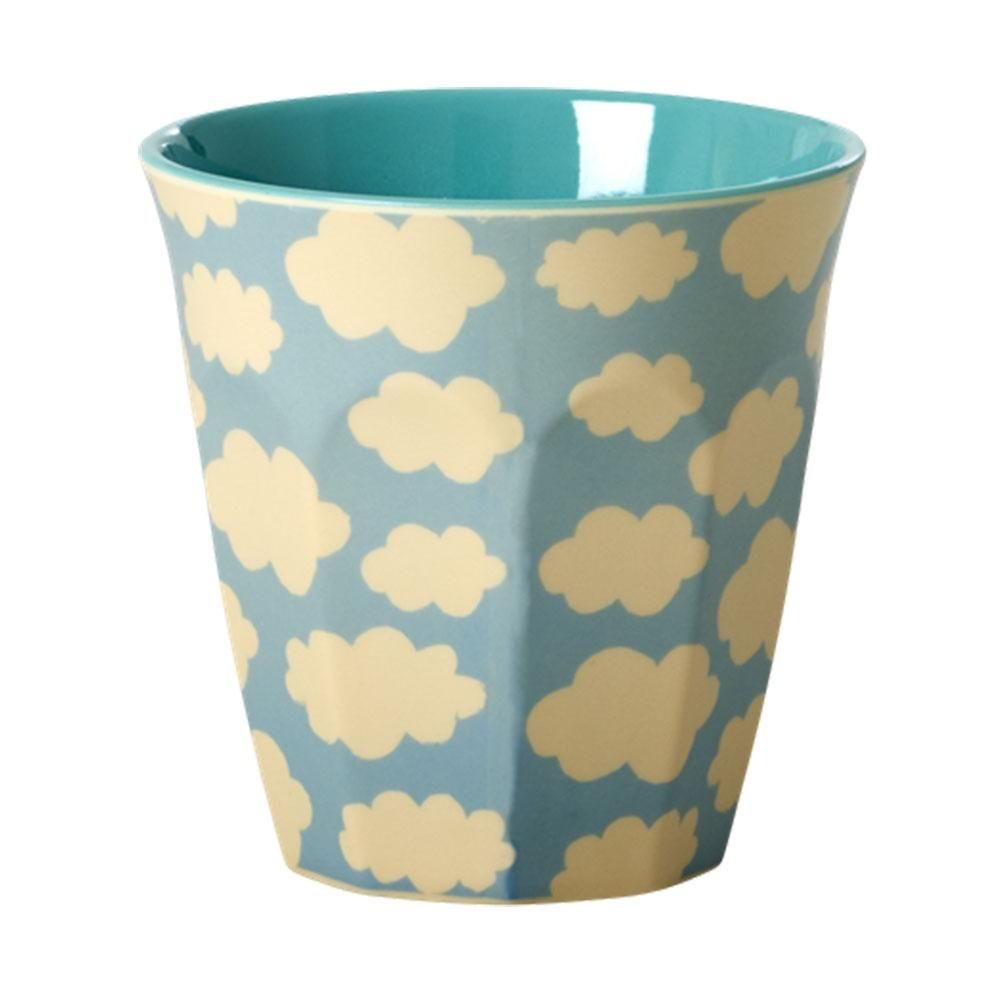 Melamine Medium Cup Two Tone with Butterfly and Flower Print by Rice DK