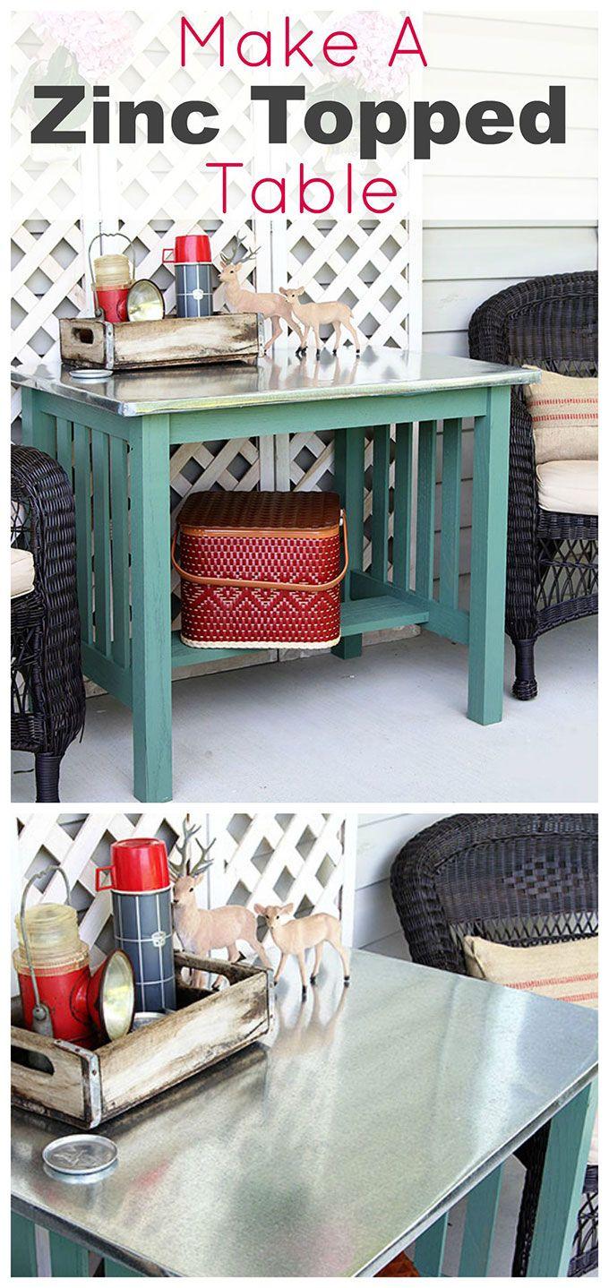 Diy Zinc Top Table Diy Furniture Furniture Makeover