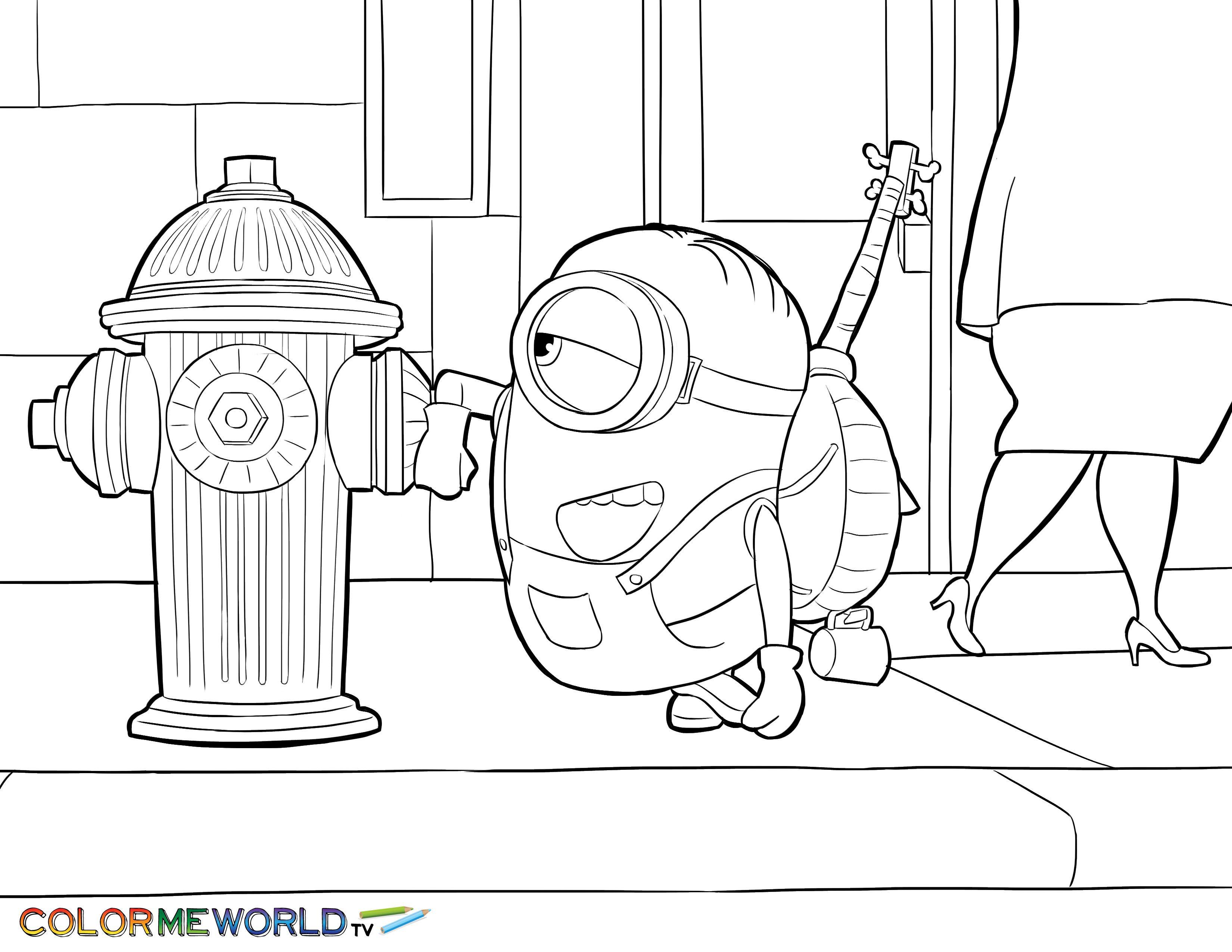 stuart with fire hydrant pdf printable coloring page minions - Fire Hydrant Coloring Page