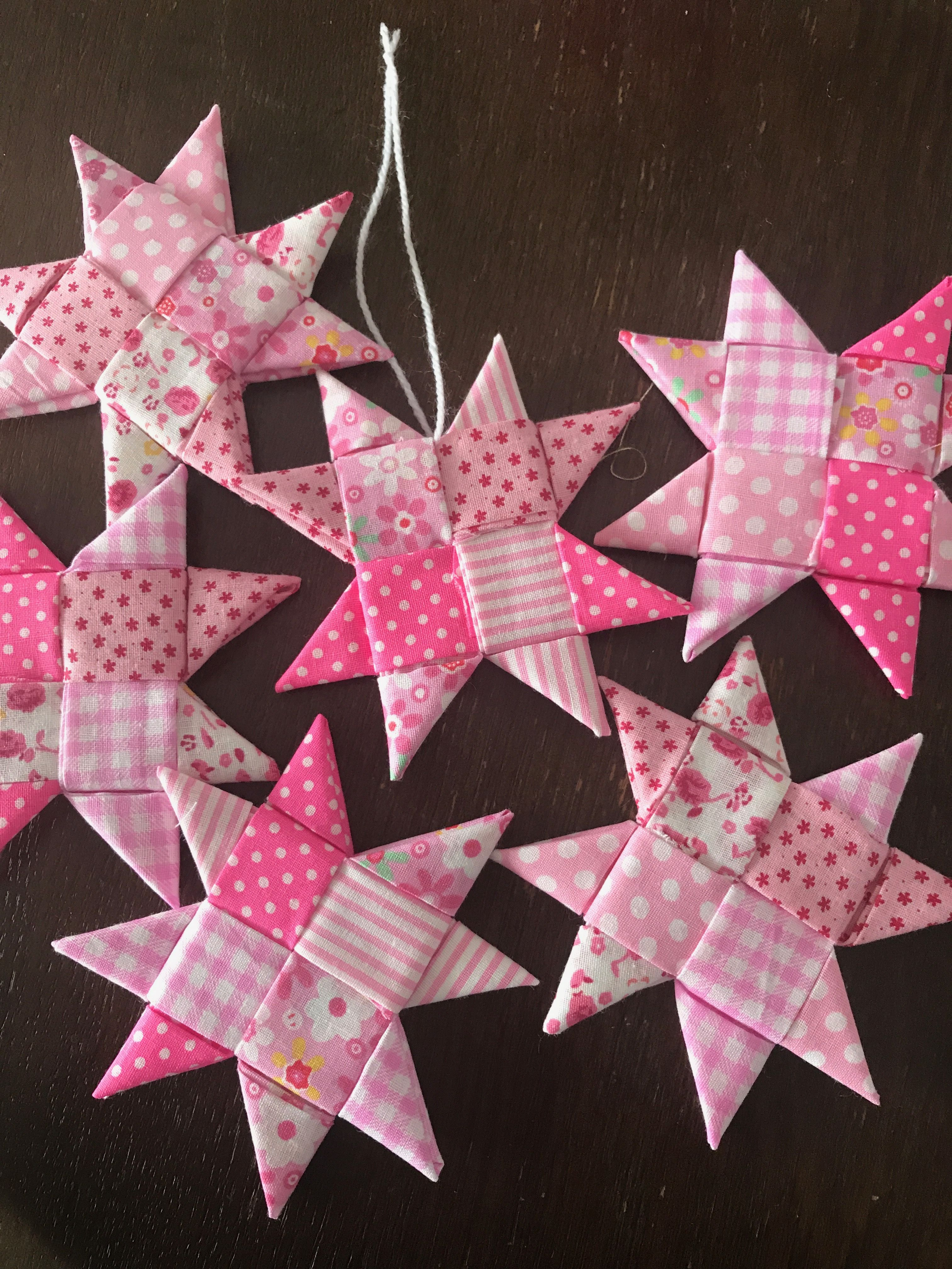 Scandinavian Fabric Stars Made With Quilting Fabric Christmas Fabric Crafts Folded Fabric Ornaments Fabric Stars