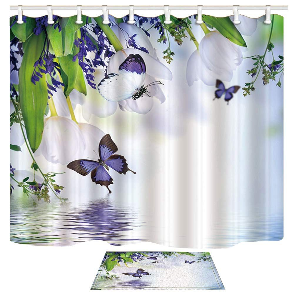 Chuami Scenery Shower Curtain Set Purple Butterfly White Tulip And Lake Decor Bathroom Accessories Polyester F In 2020 Flower Shower Curtain Black Curtains Curtains
