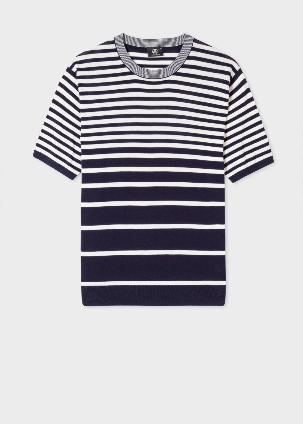 dd4dbc865fdd Men s Navy And White Gradient Stripe Short-Sleeve Cotton Sweater