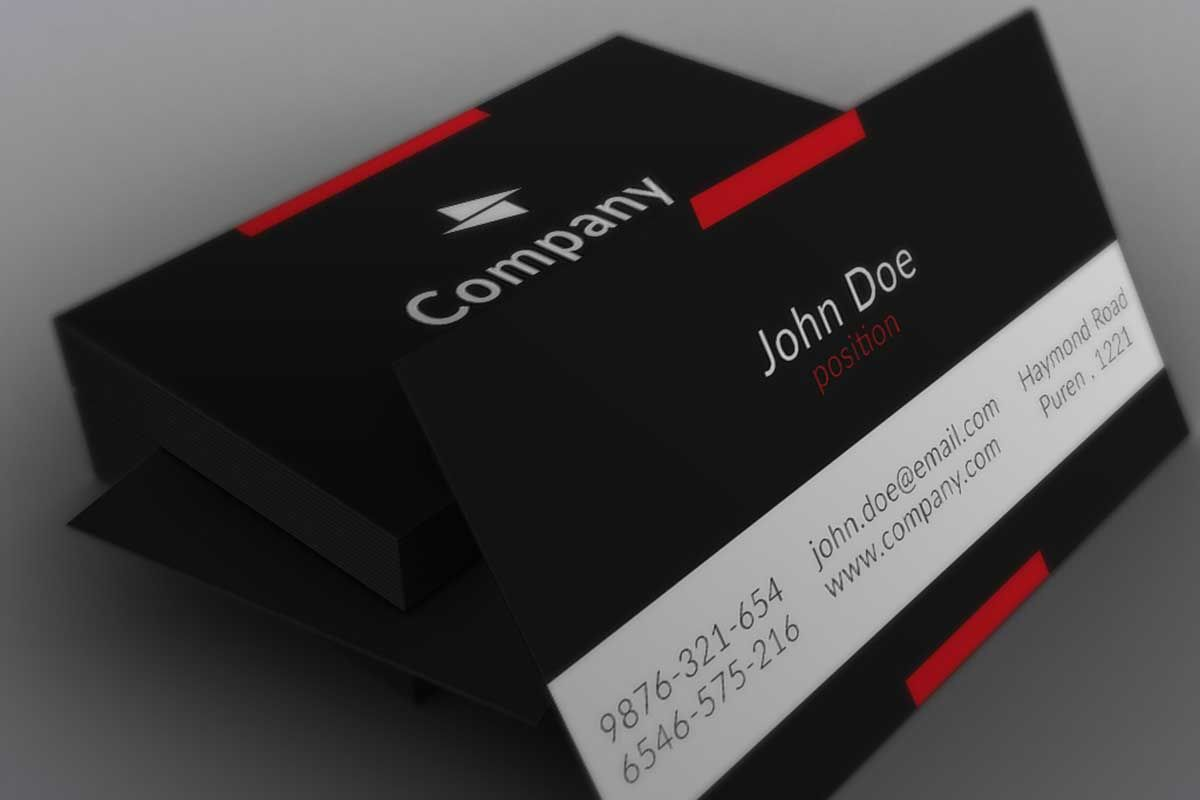 Minimalistic Black Business Card Template Business Cards Mockup Psd Black Business Card Free Business Card Templates