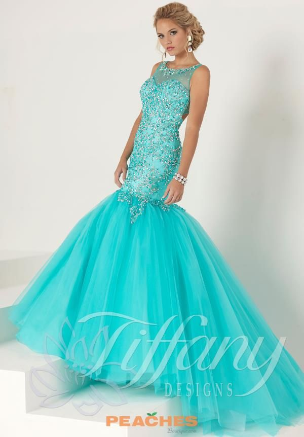 5a324e69a95 Tiffany Beaded Aqua Mermaid Dress 16193