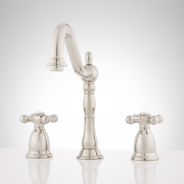 Victorian Widespread Bathroom Faucet Cross Handles Widespread Faucets Bathroom Sink Faucets Bathroom Bathroom Faucets Widespread Bathroom Faucet Faucet [ 1500 x 1500 Pixel ]