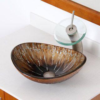 Elite Unique Oval Artistic Bronze Tempered Glass Bathroom Vessel