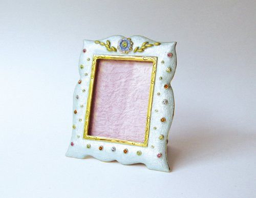 Baby Blue Pink Green Swarovski Crystals Picture Frame For A 2 X 2